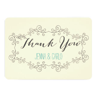 doodle swirl thank you cards