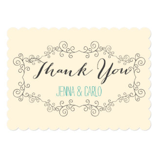 doodle swirl thank you 5x7 paper invitation card
