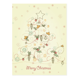 Doodle Swirls Christmas Tree Postcard