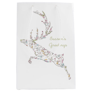 Doodle Swirls Reindeer Medium Gift Bag