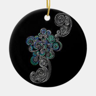 Doodle Swirls Round Ceramic Decoration
