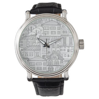 Doodle town pattern watch