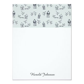 "doodle tree & houses 4.25"" x 5.5"" invitation card"