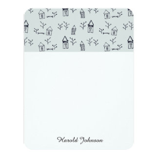 doodle tree & houses 4.25x5.5 paper invitation card
