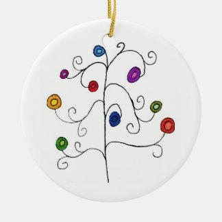 Doodle Tree Round Ceramic Decoration