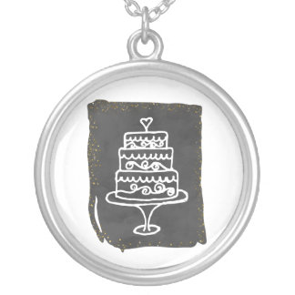 Doodle Wedding Cake With Golden Accents Silver Plated Necklace