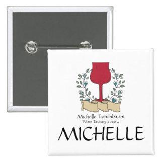 Doodle wine glass wine tasting sommelier 15 cm square badge
