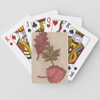 Doodled Autumn Leaves Playing Cards