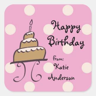 Doodled Birthday Cake Birthday Sticker