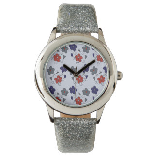 Doodled Red Blue Grey Flowers and Swirls Pattern Wrist Watches