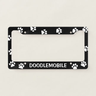 DOODLEMOBILE - Paw Prints - Custom Dog Lover's Licence Plate Frame