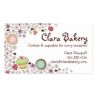 Doodles cookies cupcakes flowers bakery sweets pack of standard business cards