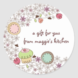 Doodles cookies cupcakes flowers bakery sweets round sticker
