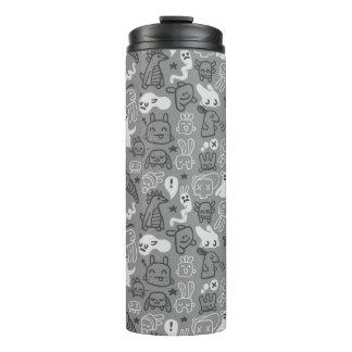 doodles pattern illustration thermal tumbler