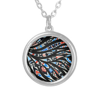 Doodles Scribble Black Pattern Silver Plated Necklace