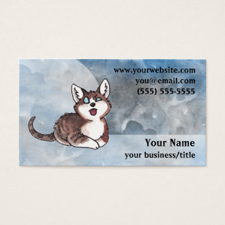Doofy Cat Business Card - Blue and Gray
