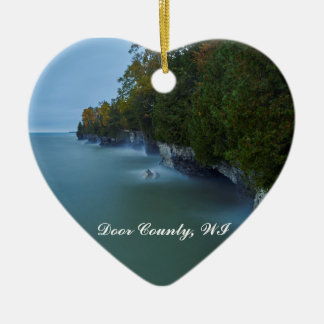 Door County Cave Point Cliffs Ceramic Heart Decoration
