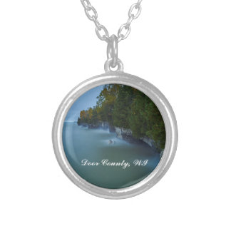 Door County Cave Point Cliffs Silver Plated Necklace