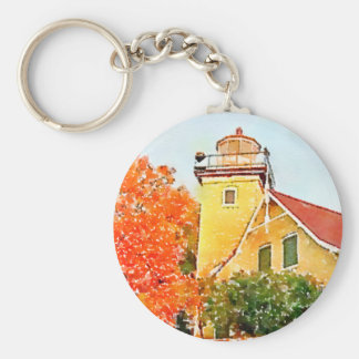 Door County Eagle Bluff Lighthouse Watercolor Key Ring