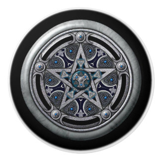 Door Knobs: Silver Pentacle Ceramic Knob