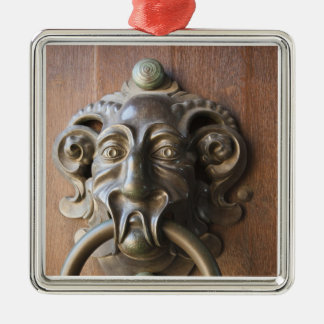 Door knocker at the Neue Residenz Silver-Colored Square Decoration