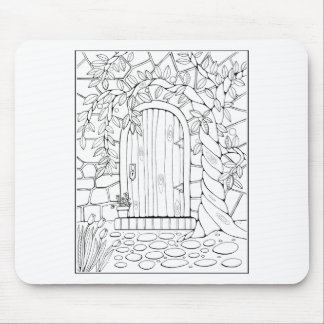 Door Line Art Design Mouse Pad