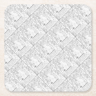 Door Line Art Design Square Paper Coaster