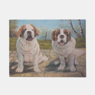 Door Mat Ann Hayes Painting Two Saint Bernards