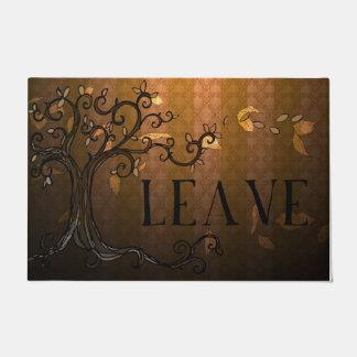 """Door Mat - 'Leave"""" in Brown Fall"""