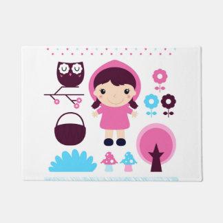 Door mat with little pink girl