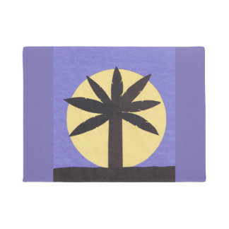 Door Mat with Palm and Full Moon