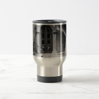 Door way and bicycle old photo stainless steel travel mug