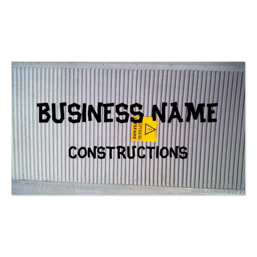Door with danger warning on business card templates