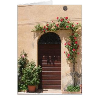 Door with Red Rose Vine Card
