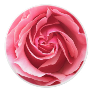 Doorknob with close up of pink rose ceramic knob