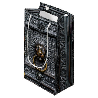 Doorknocker Lion - Black / Gold Small Gift Bag