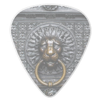 Doorknocker Lion - Black / Gold White Delrin Guitar Pick