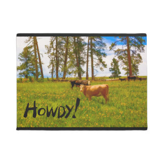 "Doormat ""Howdy!"" Featuring Cows in a Field"
