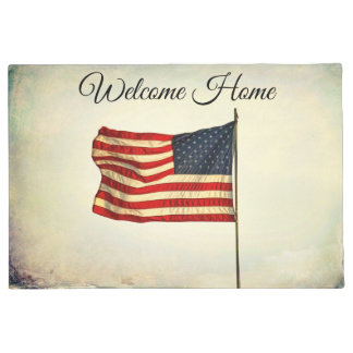 """Doormat """"Welcome Home"""" with American Flag. Rustic"""