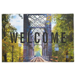"""Doormat """"Welcome"""" with Rail Bridge"""