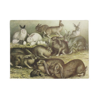 Doormat with group of vintage rabbits & bunnys
