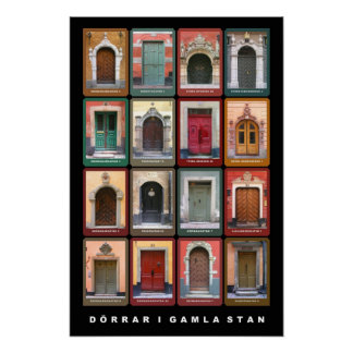 Doors in old Stan, Stockholm Poster