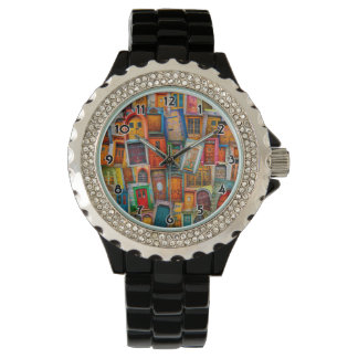 Doors of the World Black Numbered Watch