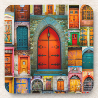 Doors of the World Red Fine Art Coaster