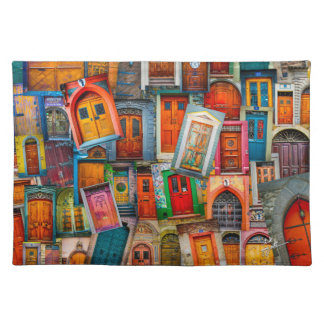 Doors of The World Unique Colorful Photo Collage Placemat