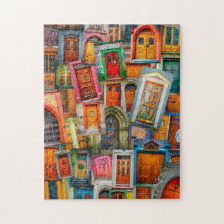 Doors of the World Unique Modern Colorful Jigsaw Puzzle