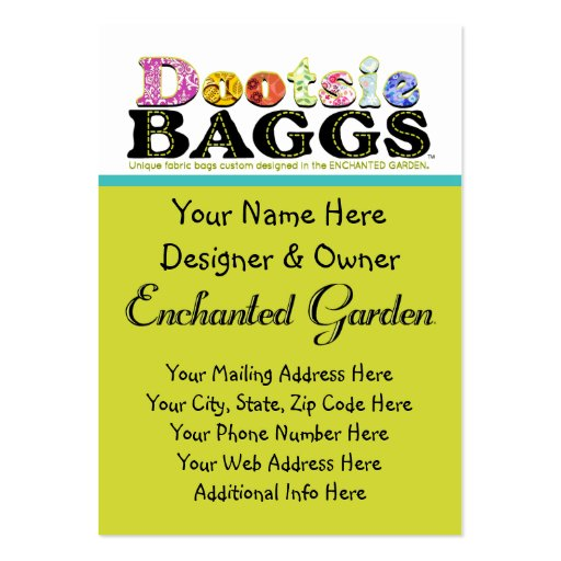 DootsieBAGGS logo gifts Business Card Templates