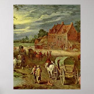 Dorfstrasse by Jan Brueghel the Elder Print