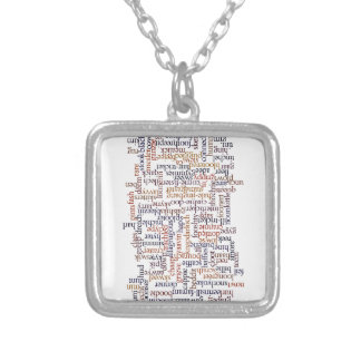 Doric Word Map Square Pendant Necklace