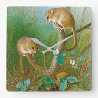 Dormice Mice Meadow Animals Wildlife Wall Clock